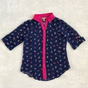 Girls Blue Pink Chiffon Owl Button Shirt Set
